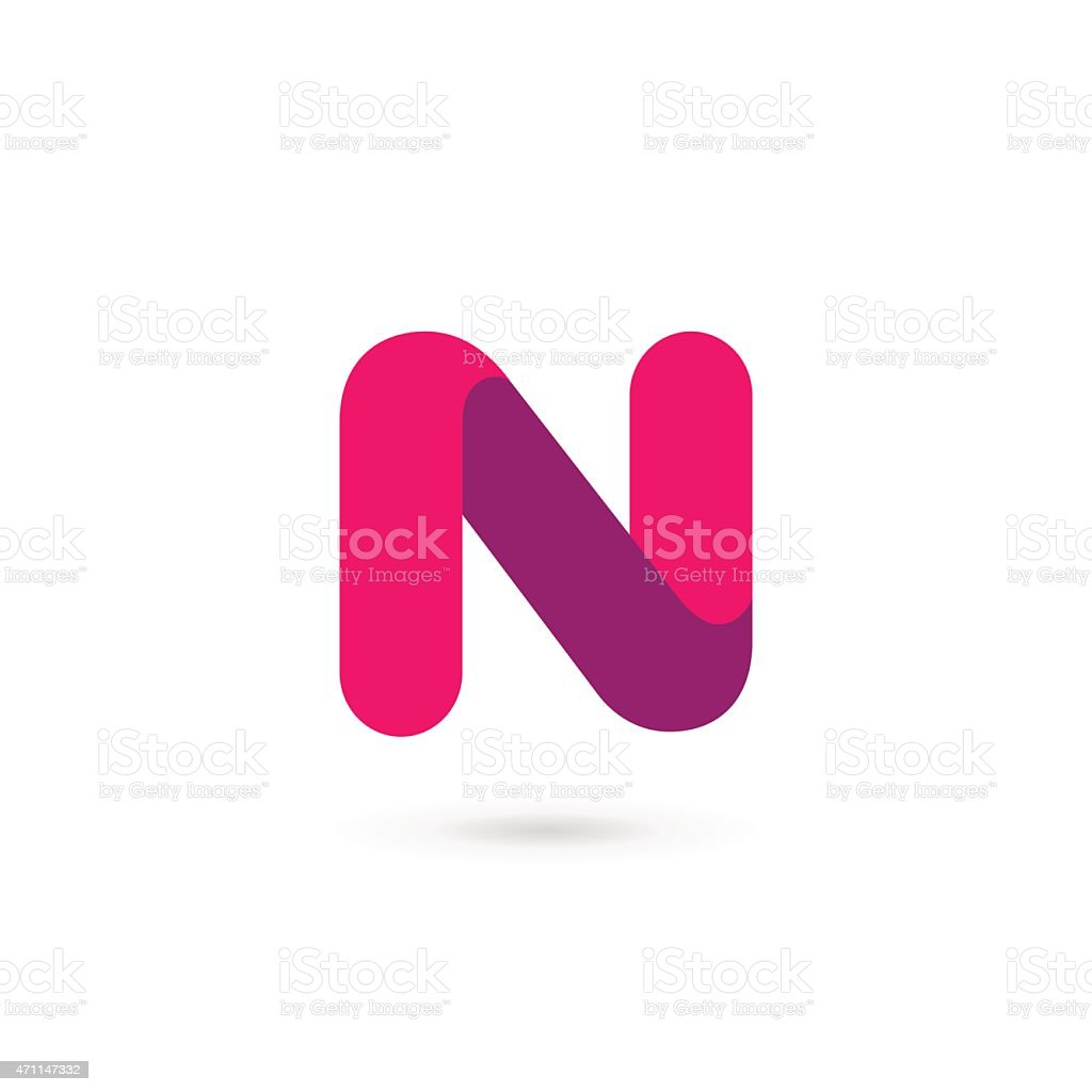Pink And Purple Icon Letter N Design Stock Vector Art More Images