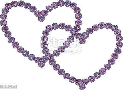 Pink And Purple Mosaic Flower Heart Frames On White Stock Vector Art ...