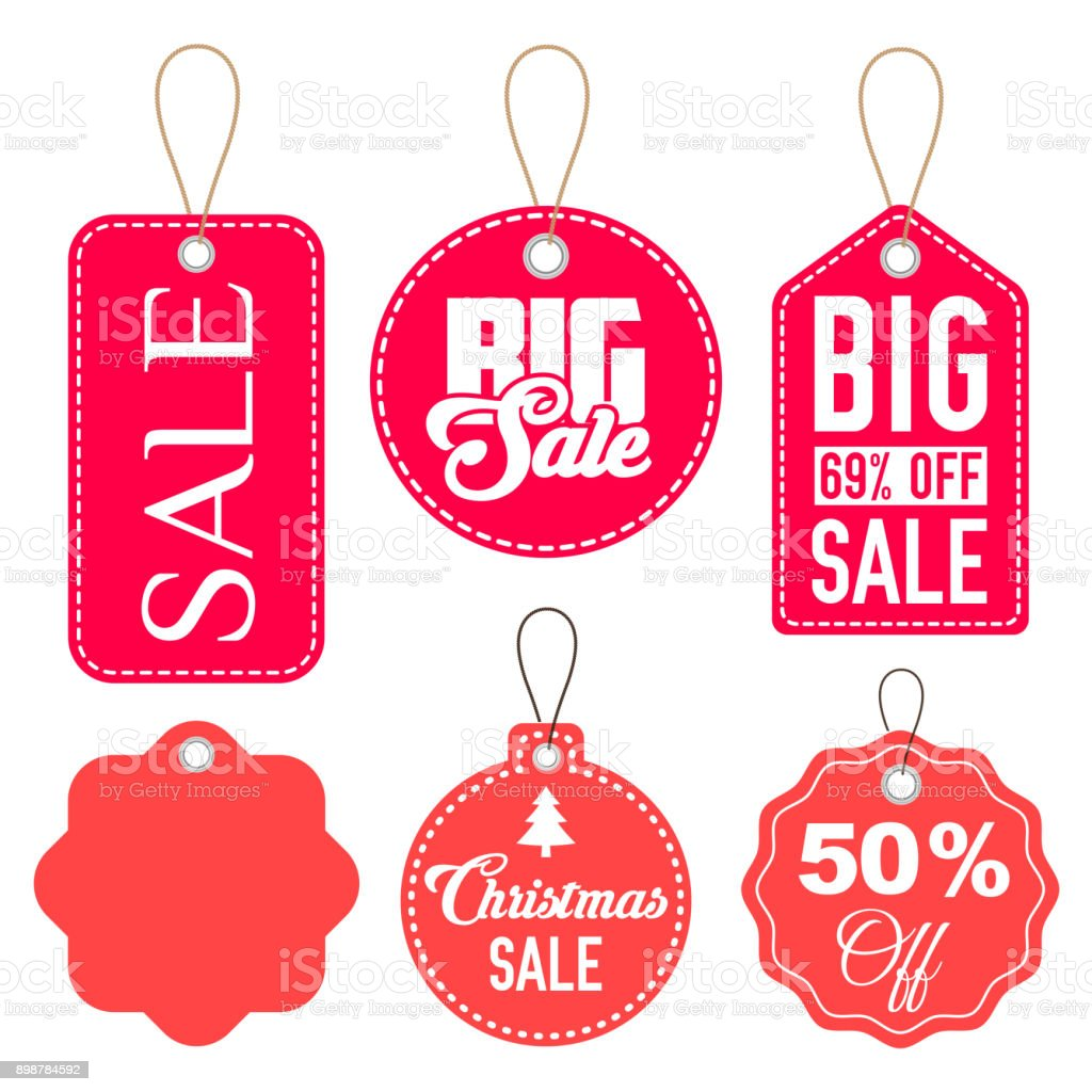 Pink and Red Sale Tags Vector Set Isolated vector art illustration