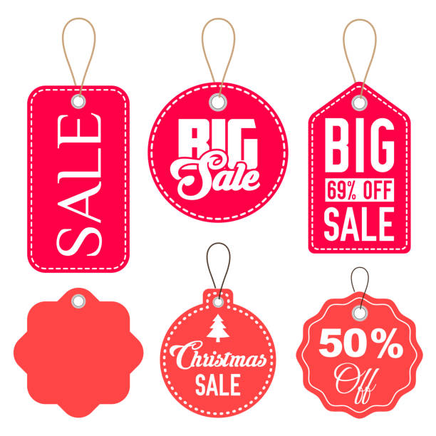 pink and red sale tags vector set isolated - przywieszka z ceną stock illustrations