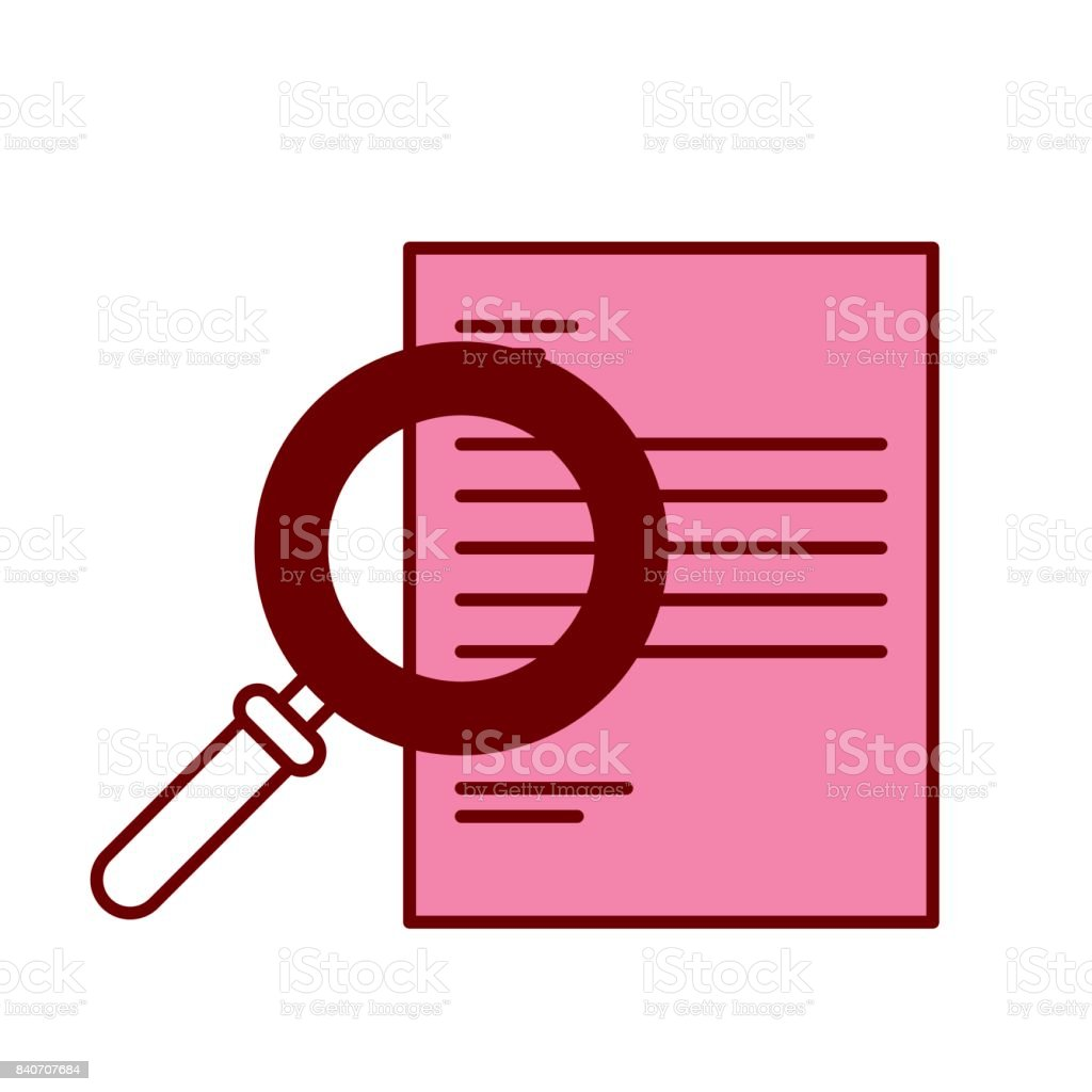 pink and scarlet red sections silhouette of magnifying glass search over document vector art illustration