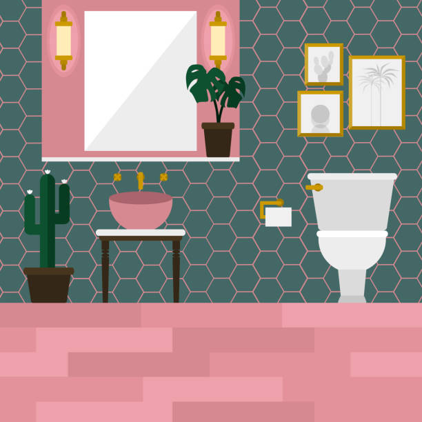 Pink and turquoise green mid century toilet decorated with tropical leaf and cactus Pink and turquoise green mid century toilet decorated with tropical leaf and cactus bathroom borders stock illustrations