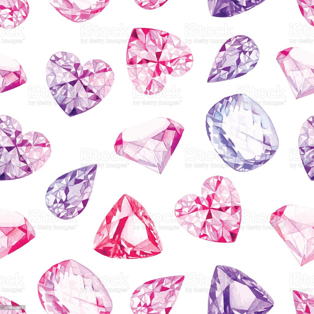 Pink and violet diamonds  watercolor seamless vector pattern vector art illustration