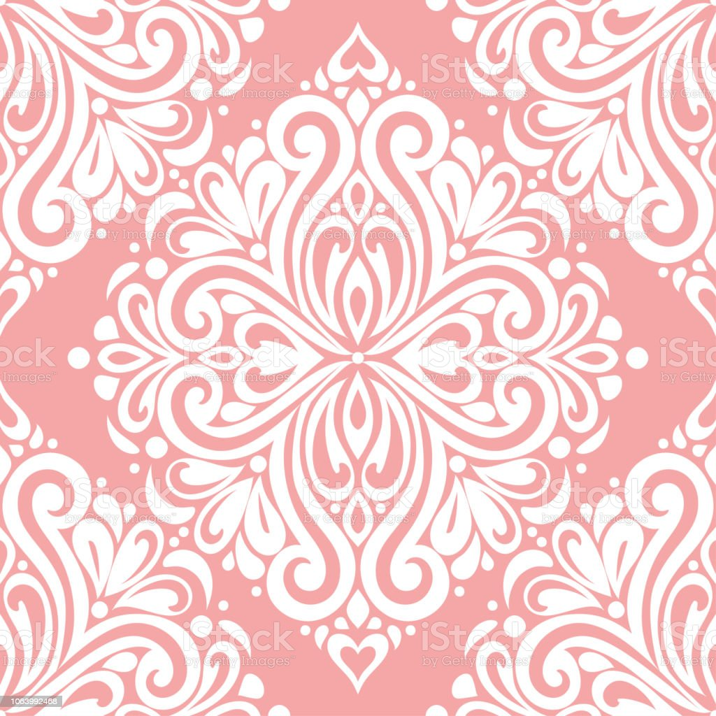 Pink and white damask vector seamless pattern, wallpaper. Elegant classic texture. Luxury ornament