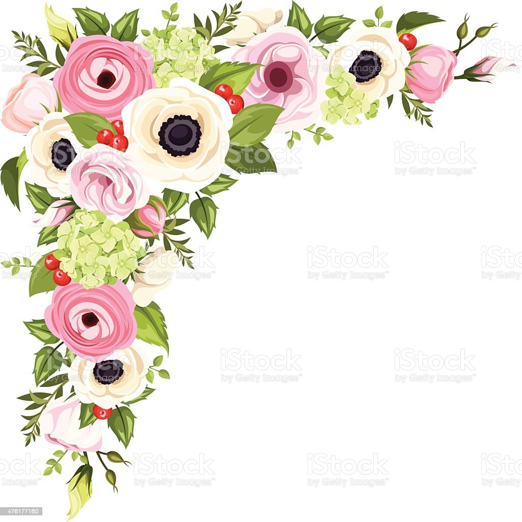Pink And White Flowers And Green Leaves Vector Corner Background