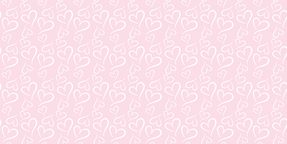 Pink and white hearts seamless repeat pattern vector.
