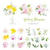 Pink and  white peony, yellow daffodils, wild rose, white poppy,