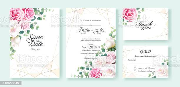Pink and white rose flowers wedding invitation save the date thank vector id1136533451?b=1&k=6&m=1136533451&s=612x612&h=bsugsjppucbavgeytb1dyfetolwmcae4zc p2iyvmfy=