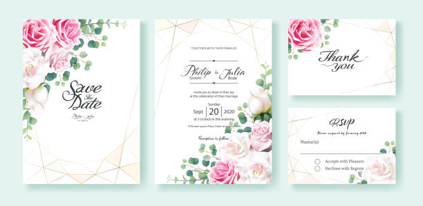 pink and white rose flowers wedding invitation, save the date, thank you, rsvp card design template. silver dollar eucalyptus leaves, ivy plants. - thank you background stock illustrations