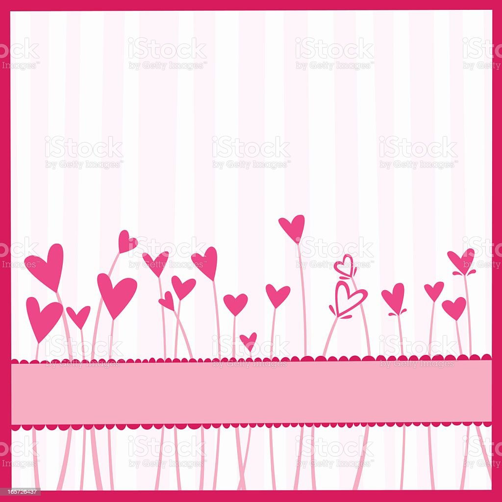 Pink and white striped background with pink heart flowers vector art illustration