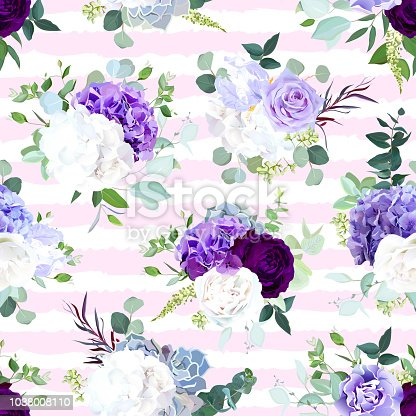 Pink and white striped seamless vector design pattern arranged from dark violet rose, purple and white hydrangea flower, rose, iris, carnation, seeded eucalyptus, greenery. Floral print.