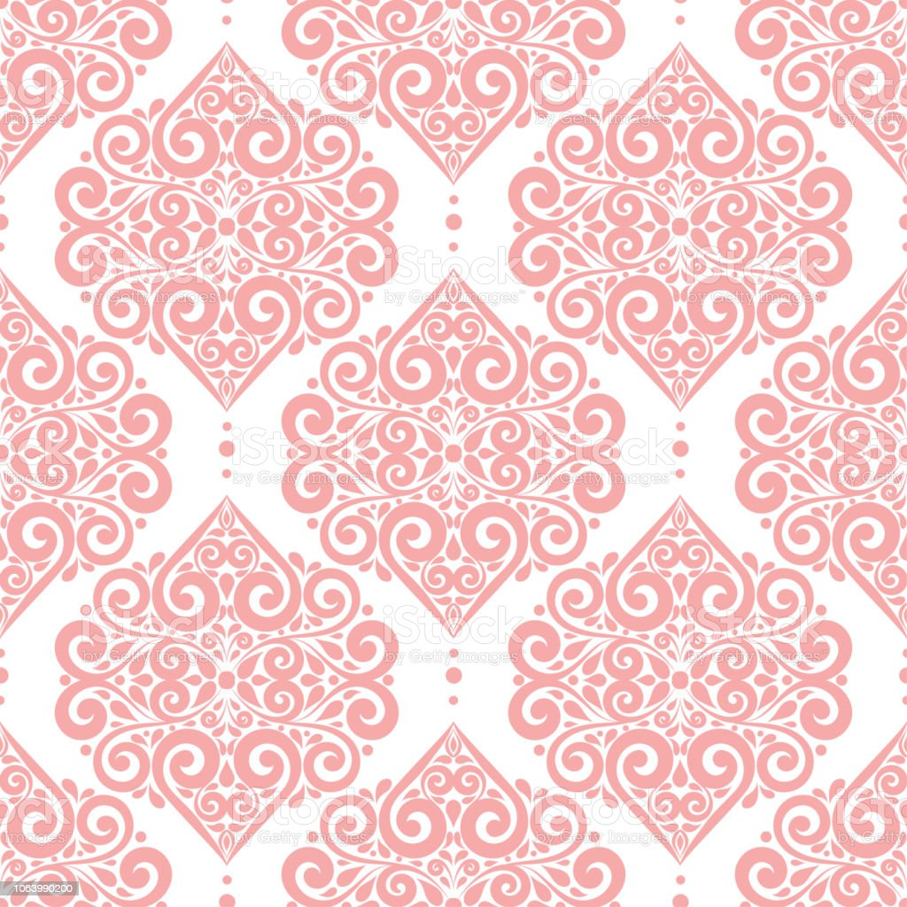 Pink And White Vintage Vector Seamless Pattern Wallpaper Elegant Classic Texture Luxury Ornament Royal Victorian Baroque Elements Stock Illustration