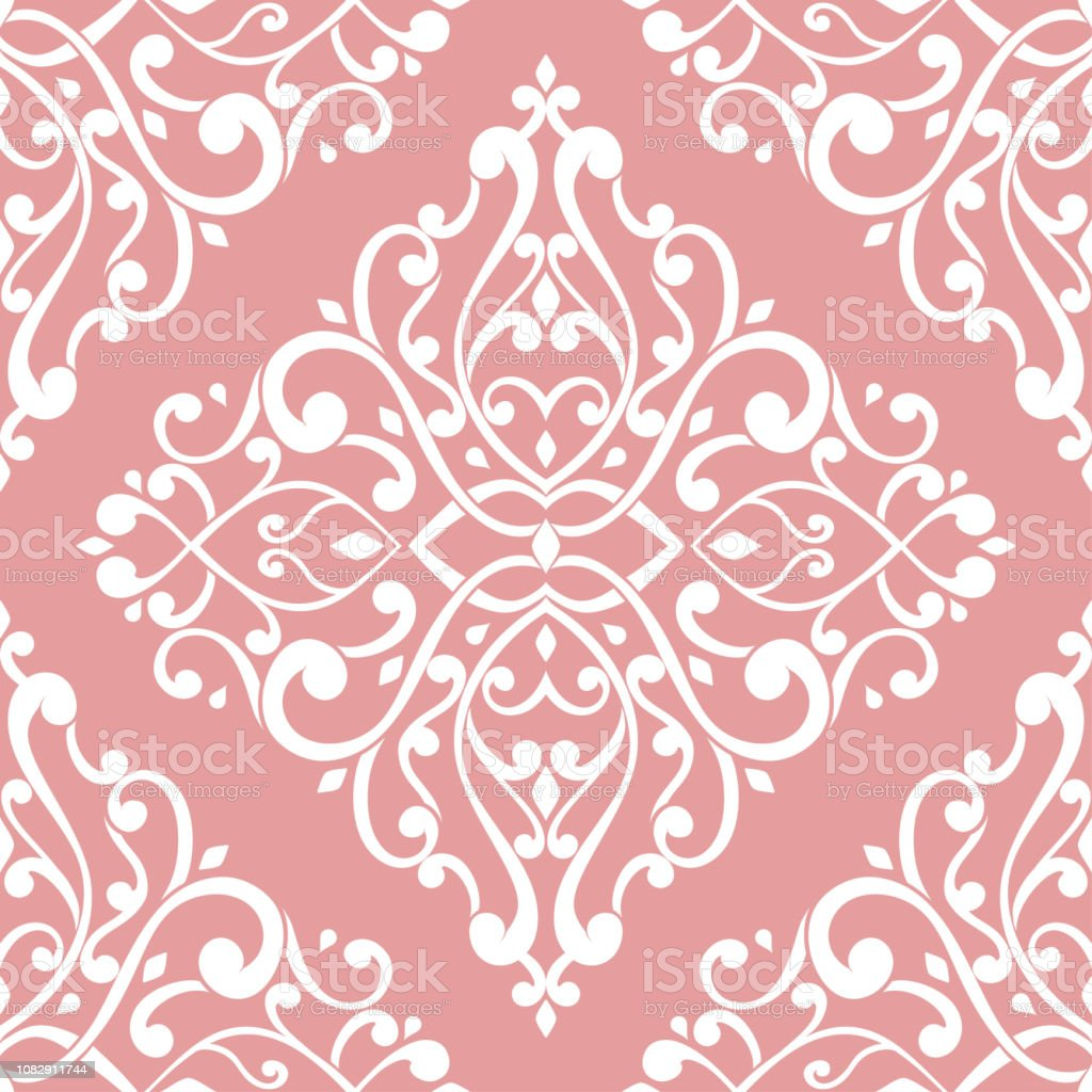 Pink And White Vintage Vector Seamless Pattern Wallpaper Elegant Classic Texture Luxury Ornament Royal Victorian Baroque Elements Great For Fabric And
