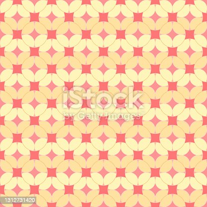 pink and yellow abstract circles. vector seamless pattern. baby repetitive background. fabric swatch. wrapping paper. continuous print. geometric shapes. design element for home decor, textile, cloth