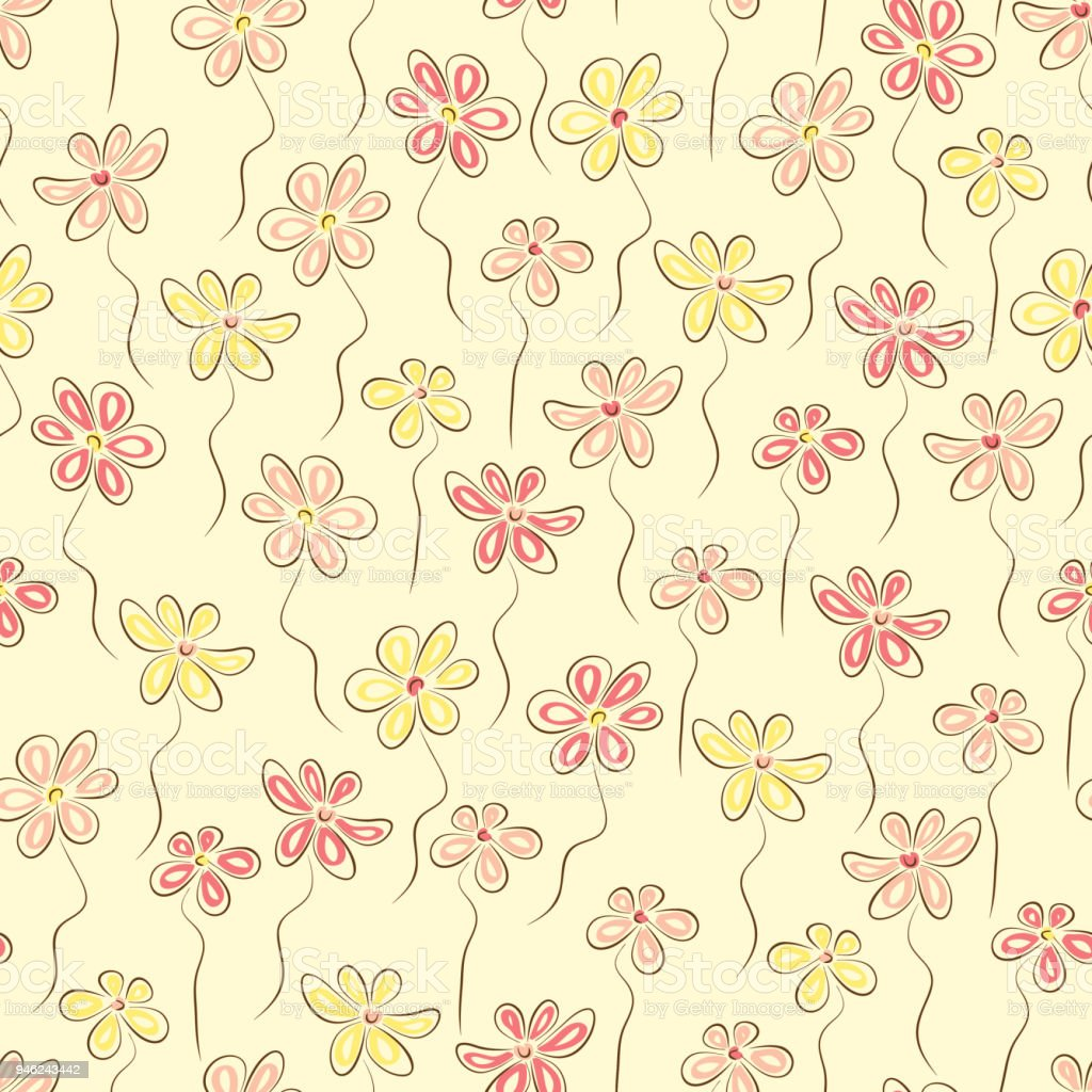Pink And Yellow Flowers Seamless Pattern Summer Floral Background