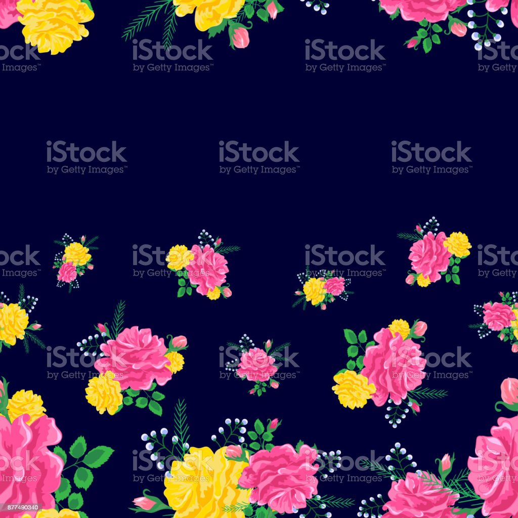 pink and yellow roses on a dark vector art illustration