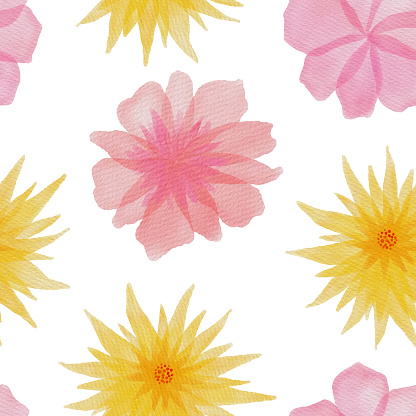 Pink and Yellow Spring Blossom Seamless Pattern. Hand Painted Layered Watercolor Flower Clip Art. Watercolor Floral Pattern. Design Element for Greeting Cards and Wedding, Birthday and other Holiday and Summer Invitation Cards Background.