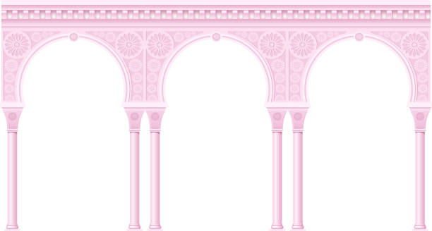 Pink arcade in oriental style vector art illustration