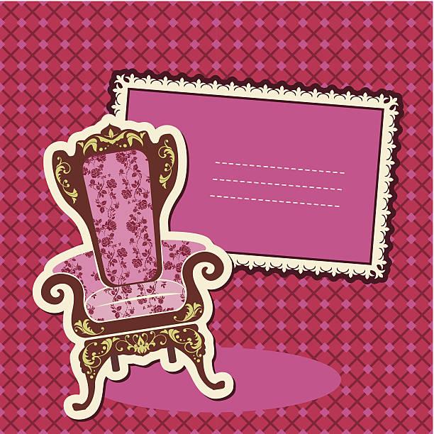 ilustrações de stock, clip art, desenhos animados e ícones de rosa cadeira de braços e imagem de fundo seleccionada - lian empty