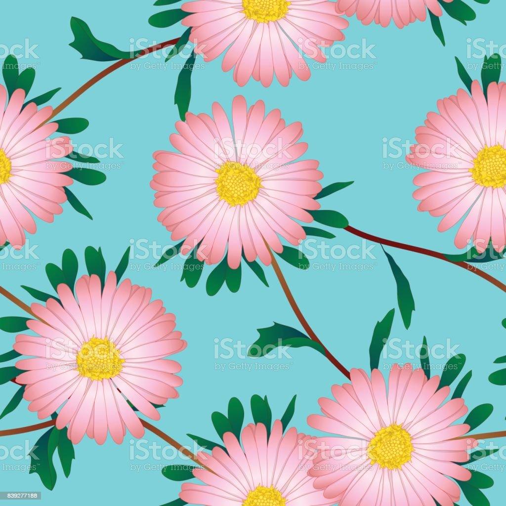 Pink Aster Flower On Blue Background Vector Illustration Stock