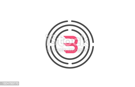 istock pink B logo design letter design with circles. Alphabet design icon. Branding for products and company 1324750770