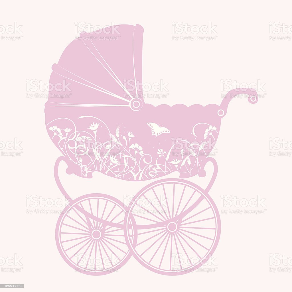 Pink Baby Carriage vector art illustration