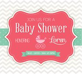 Pink baby shower invitation vector illustration