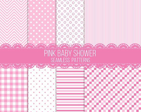 pink baby shower seamless patterns set