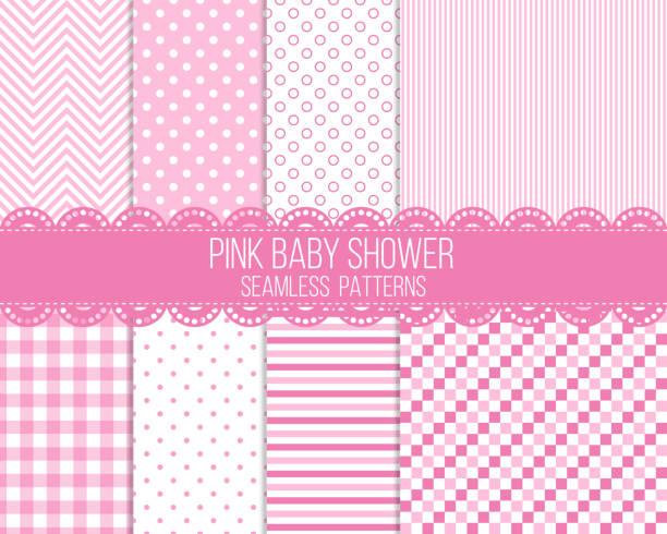 pink baby shower seamless patterns set pink baby shower seamless patterns set it's a girl stock illustrations