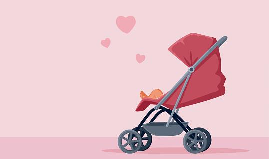 Pink Baby Stroller Vector Illustration Design