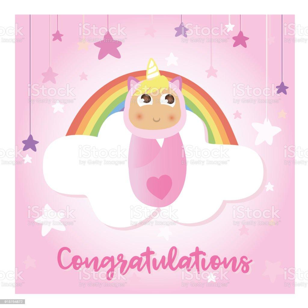 Pink Baby Unicorn Birthday Card Design Stock Vector Art More