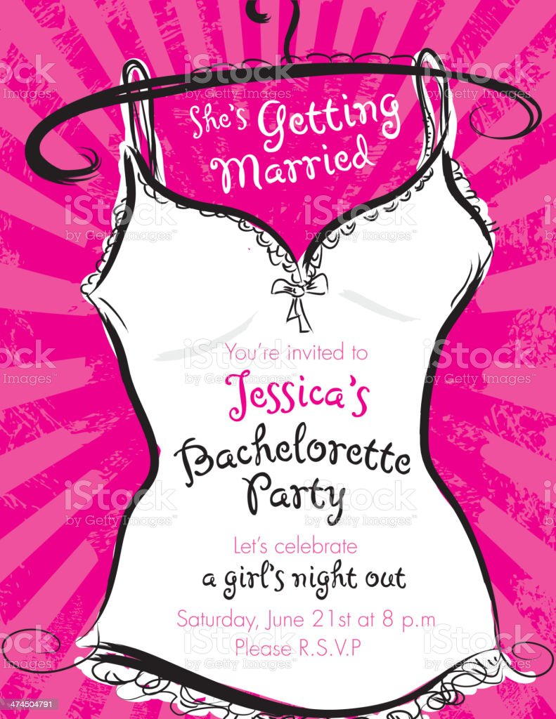 Pink bachelorette party invitation template vector art illustration