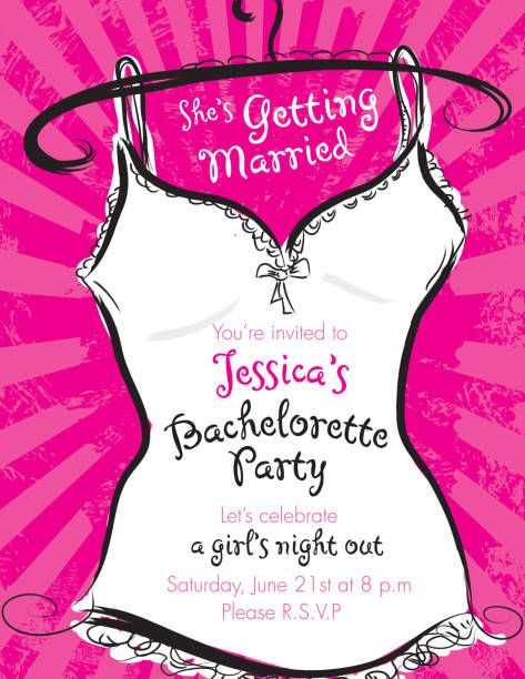 pink bachelorette party invitation template - bachelorette party stock illustrations, clip art, cartoons, & icons