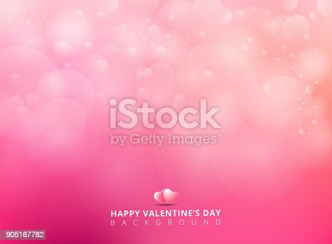 istock Pink background with bokeh blurred soft and light. Happy Valentines Day Card Design. 905167782