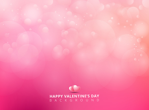 Pink background with bokeh blurred soft and light. Happy Valentines Day Card Design.