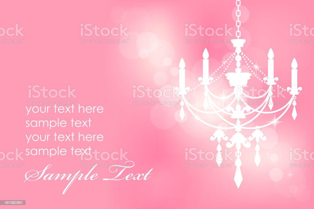 Pink background with chandelier vector art illustration