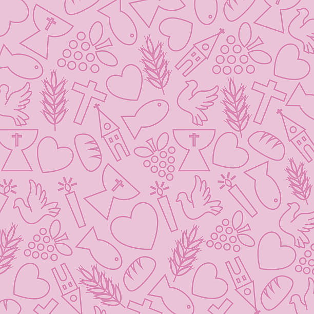 Pink background with communion icons Pink background with communion icons bread backgrounds stock illustrations