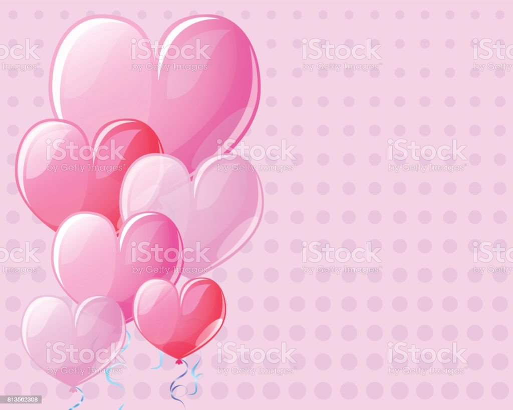 Pink background with heart air balloons. Vintage card template for Valentine Day with text place. vector art illustration