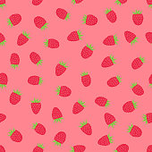 seamless berries pattern, bright pink background with ripe raspberry