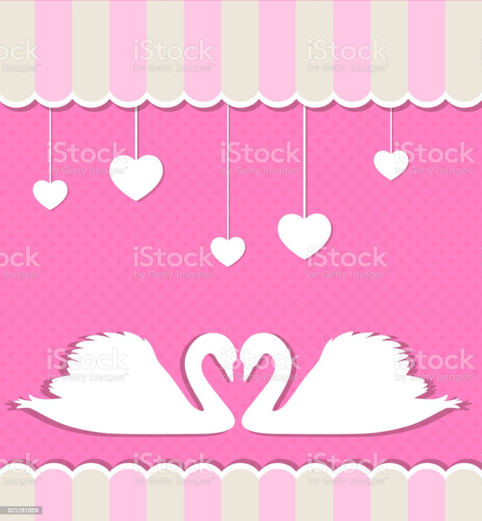 Pink background with swans royalty-free stock vector art