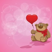 Teddy bear with a red heart-shaped balloon. EPS 10 file. Pink background and copy space for your Valentine's Day card. Teddy and pink background are on the separate layers.