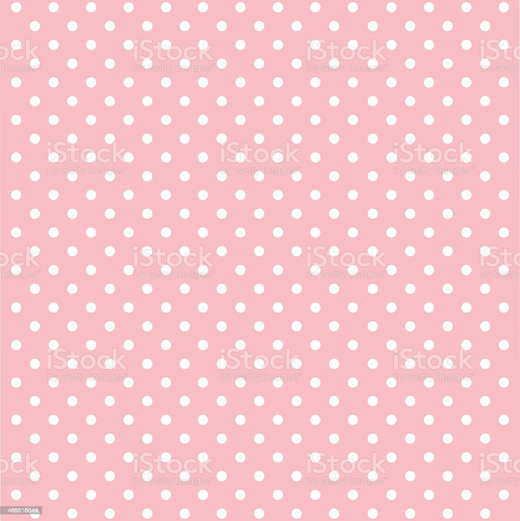 Pink background with white polka dots arranged neatly vector art illustration