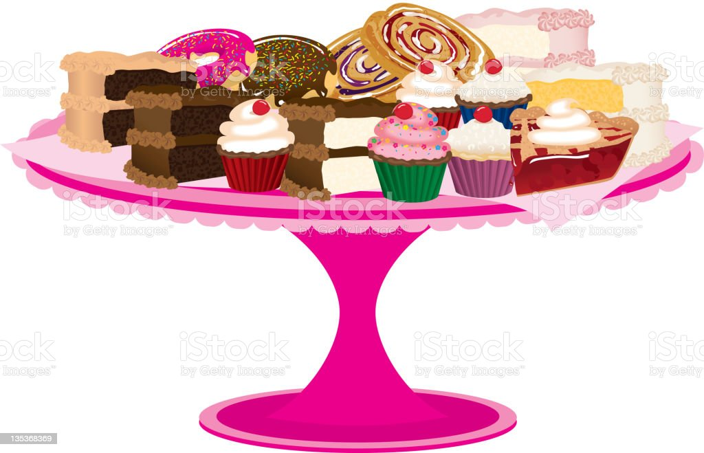 Pink Bakery Tray of Desserts or Sweets royalty-free stock vector art