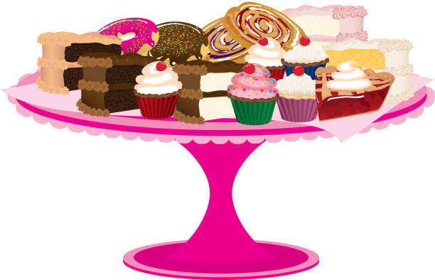 Pink Bakery Tray of Desserts or Sweets vector art illustration
