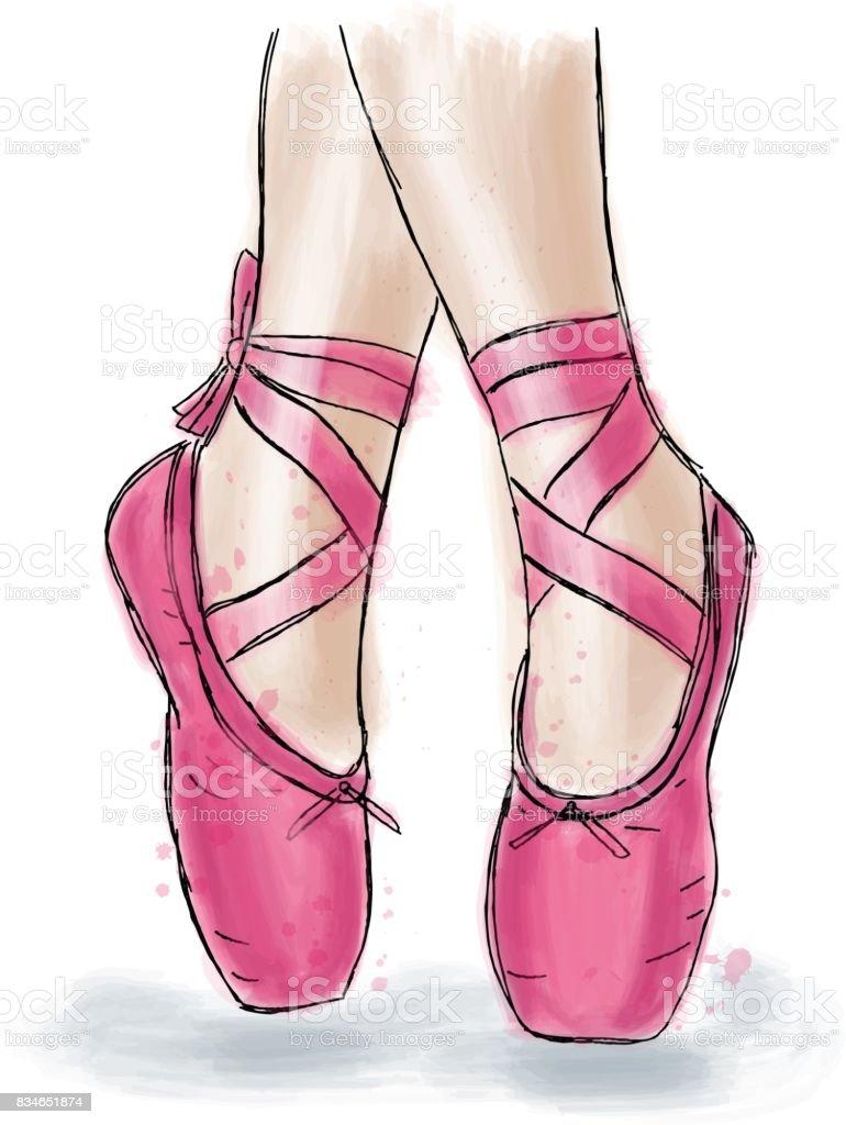 Vetores De Sapatos De Bailarina Rosa Sapatilhas De Bale Com Fita E
