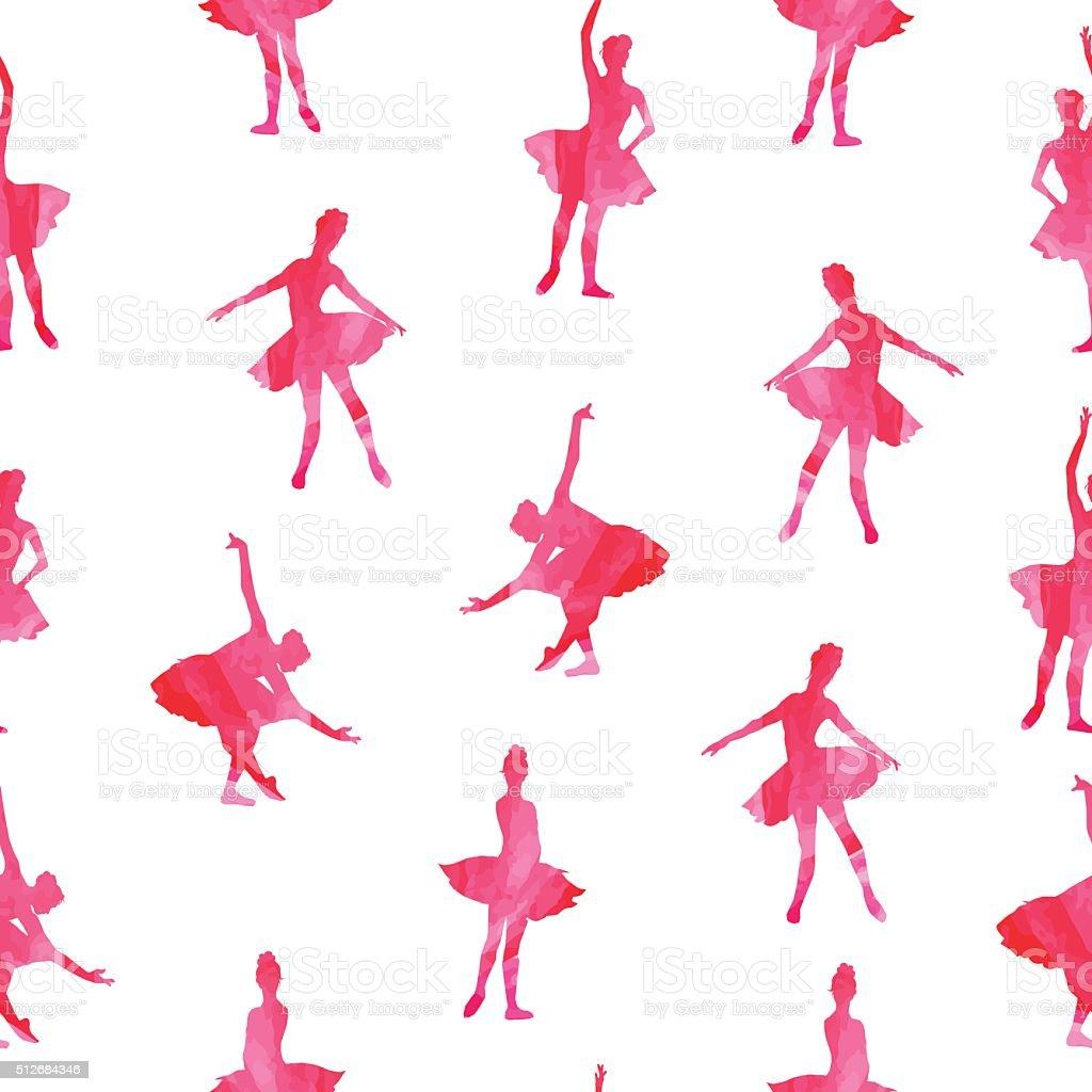 Pink ballerina silhouettes seamless vector print vector art illustration