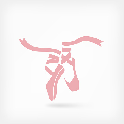 pink ballet pointes. dance studio symbol