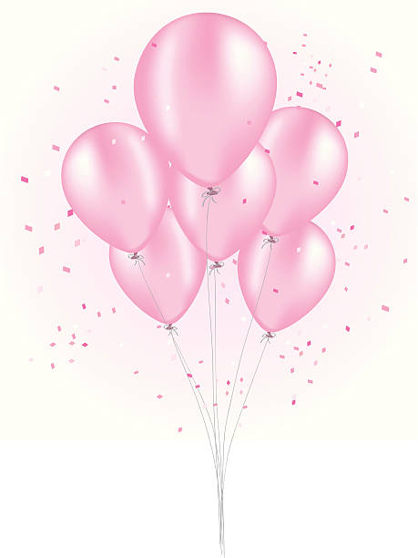 Pink Balloon Bouquet vector art illustration