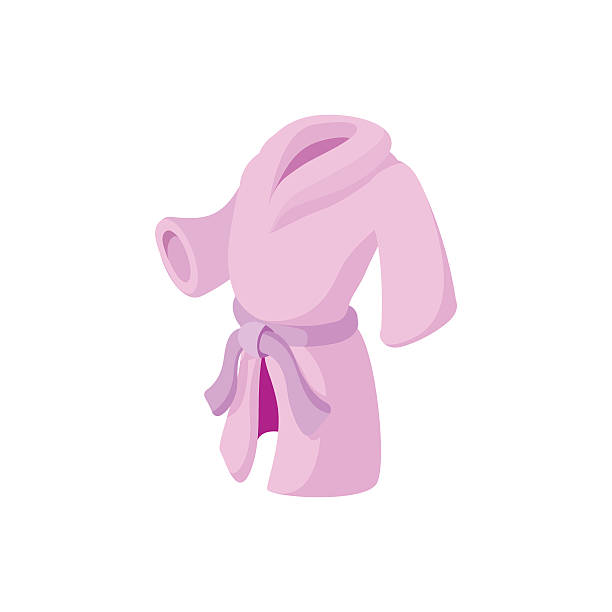 Pink Bathrobe Cartoon Icon Vector Art Illustration