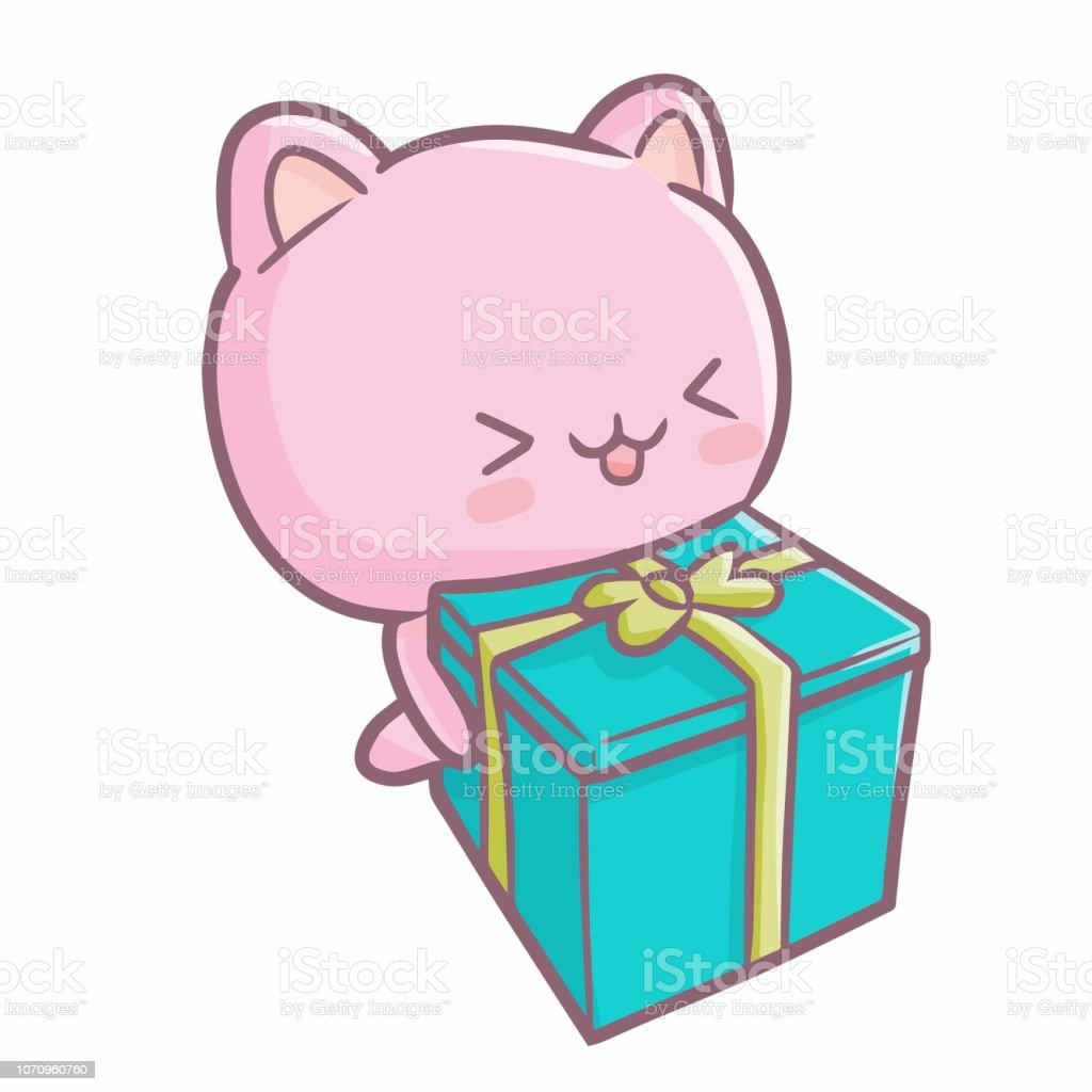 pink bear bringing a gift - ilustração de arte vetorial